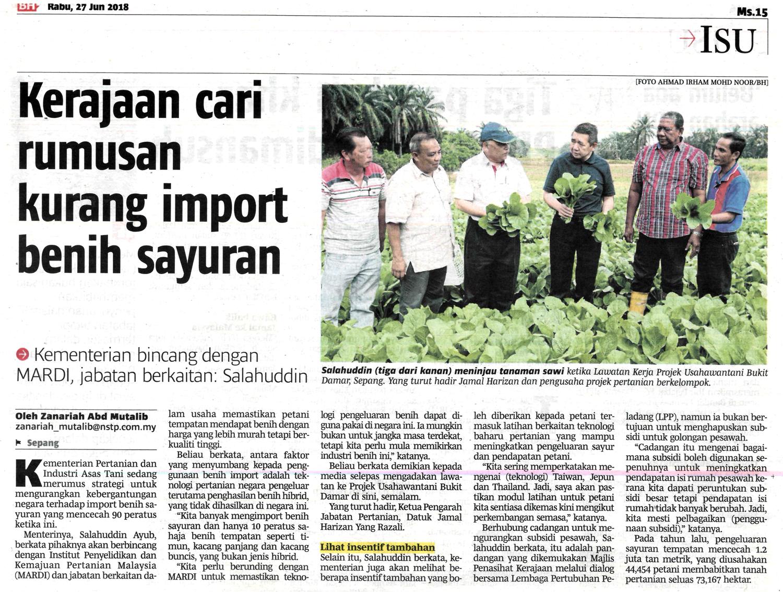 Kerajaan cari rumusan kurang import benih sayuran